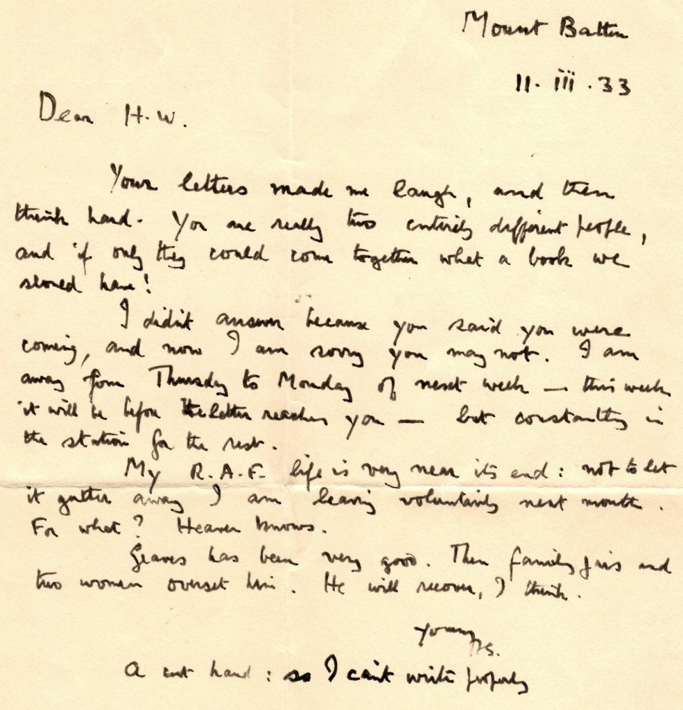 Friendship, Sex and the R A F  – a 1933 Letter from T E  Lawrence