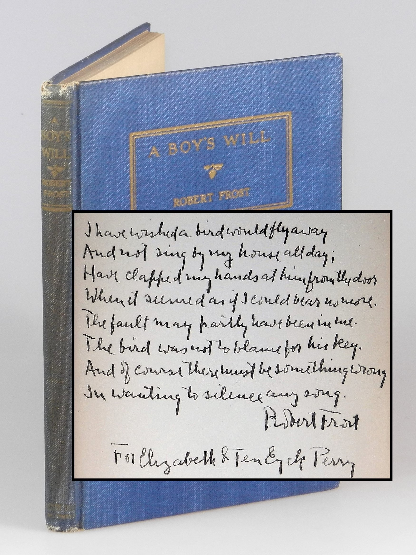 It was not uncommon for Frost to inscribe his books with excerpts from his  poems. But we recently acquired a particularly special copy – an American  first ...