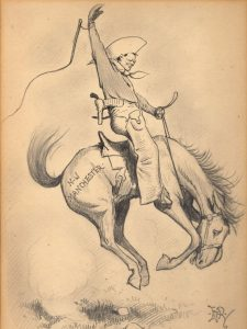 Cartoon of Churchill on a horse