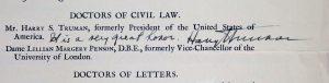 Harry Truman signature
