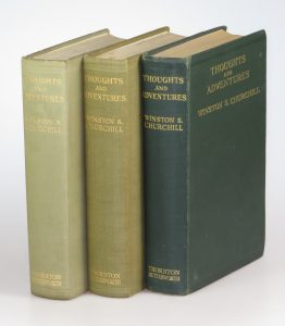 Three different Thoughts and Adventures first edition binding variants together