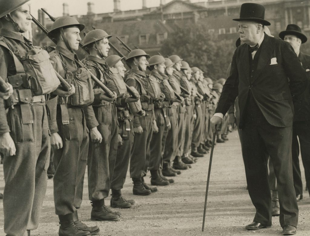 Photo of Churchill inspecting troops
