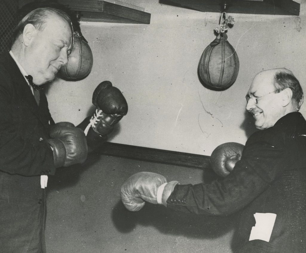 Photo of boxers with faces of Churchill and Attlee pasted over